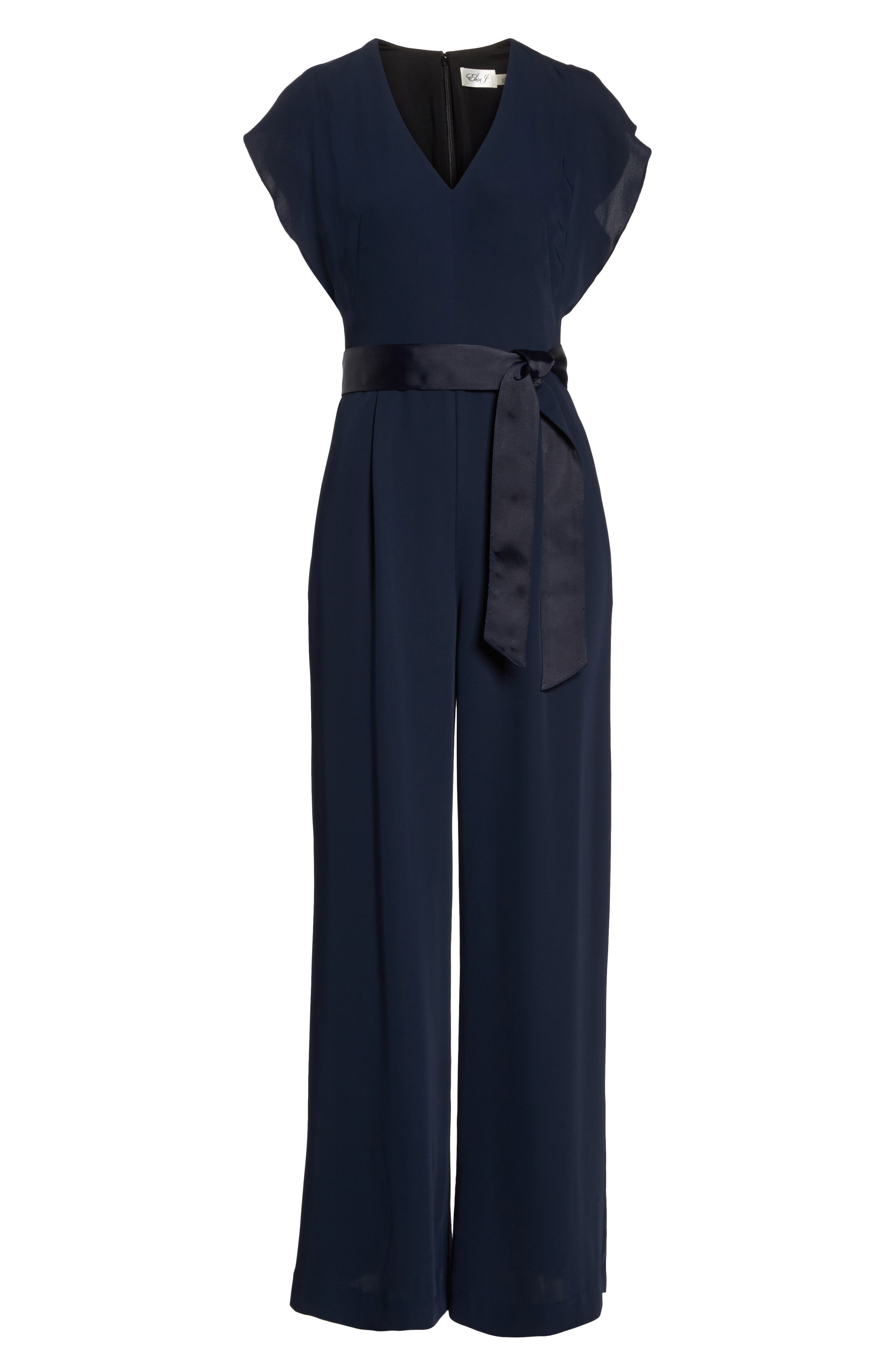 ,                             Flutter Sleeve Crepe Wide Leg Jumpsuit,                             Alternate thumbnail 7, color,                             NAVY