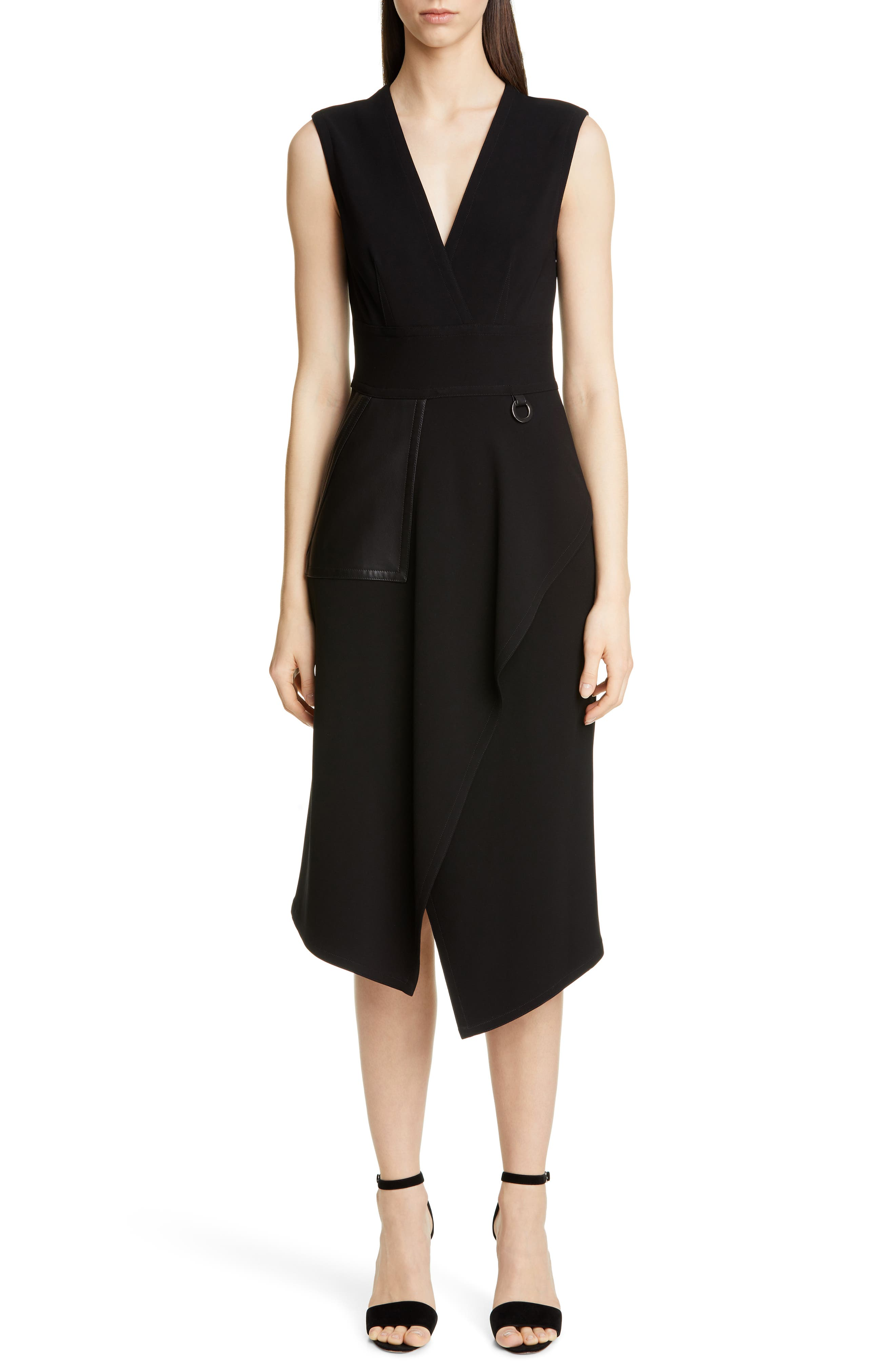Yigal Azrouel Leather Pocket Mechanical Stretch Midi Dress, Black