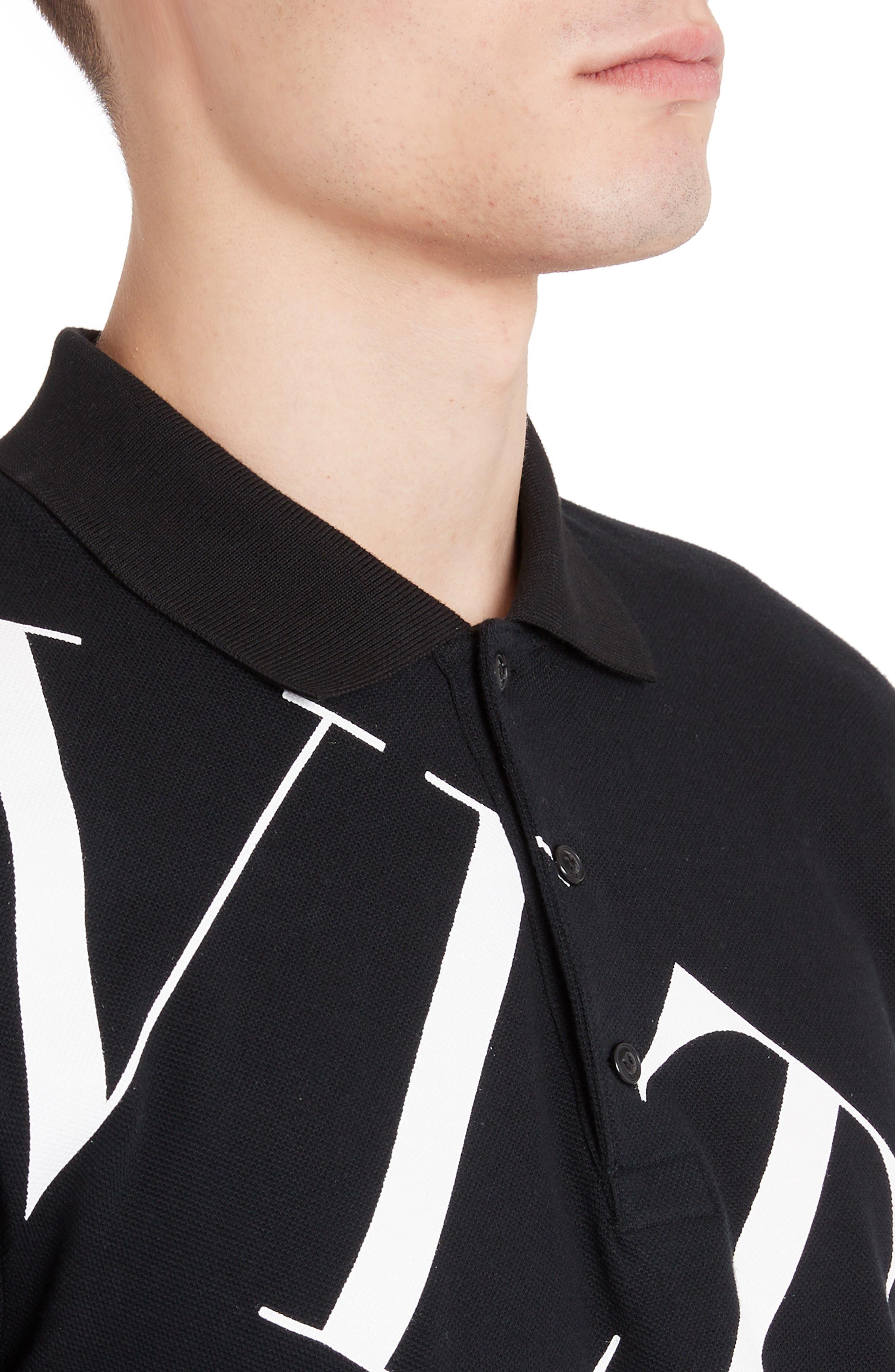 ,                             VLTN Logo Piqué Polo,                             Alternate thumbnail 4, color,                             BLACK/ WHITE