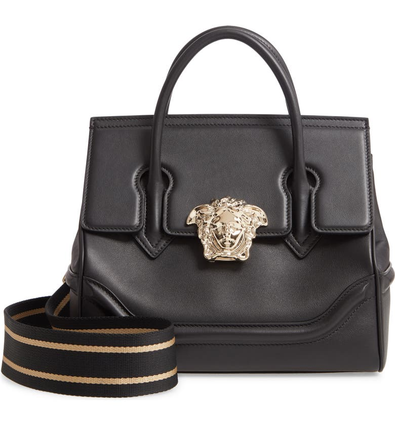 VERSACE FIRST LINE Versace Palazzo Empire Medium Leather Satchel, Main, color, NERO/ ORO CHIARO