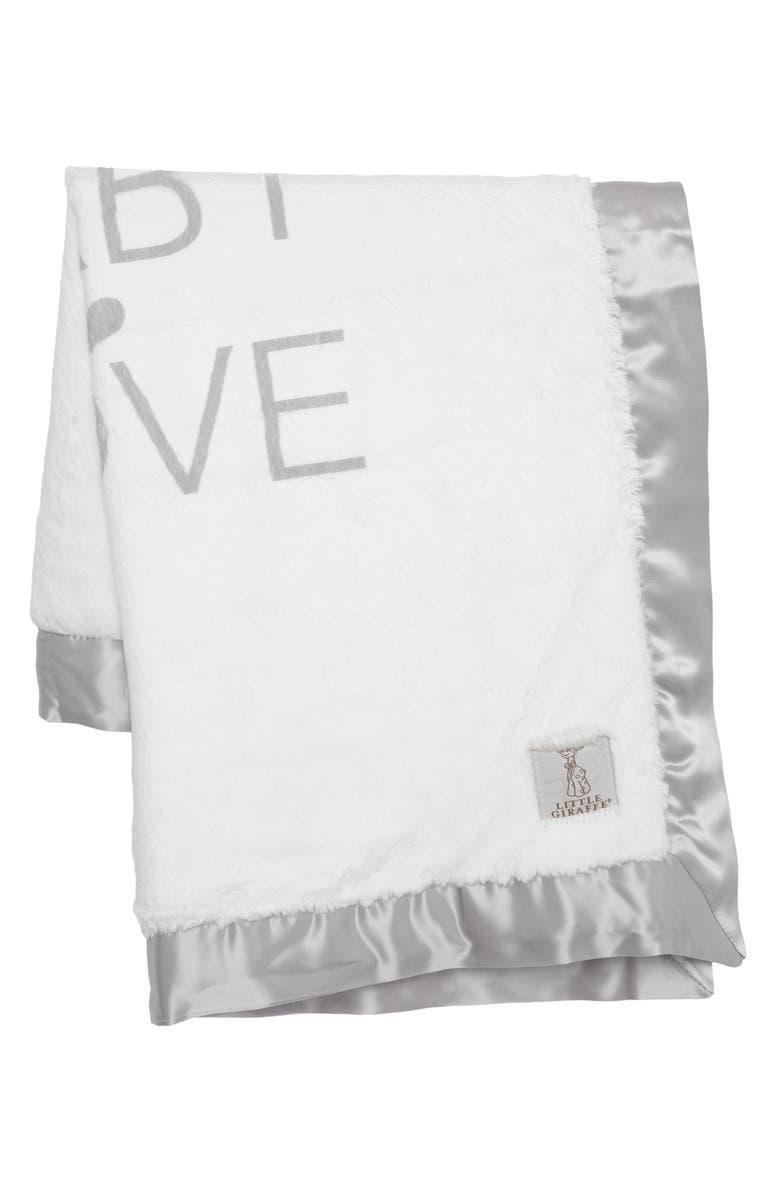 LITTLE GIRAFFE Baby Love Satin Trim Blanket, Main, color, SILVER