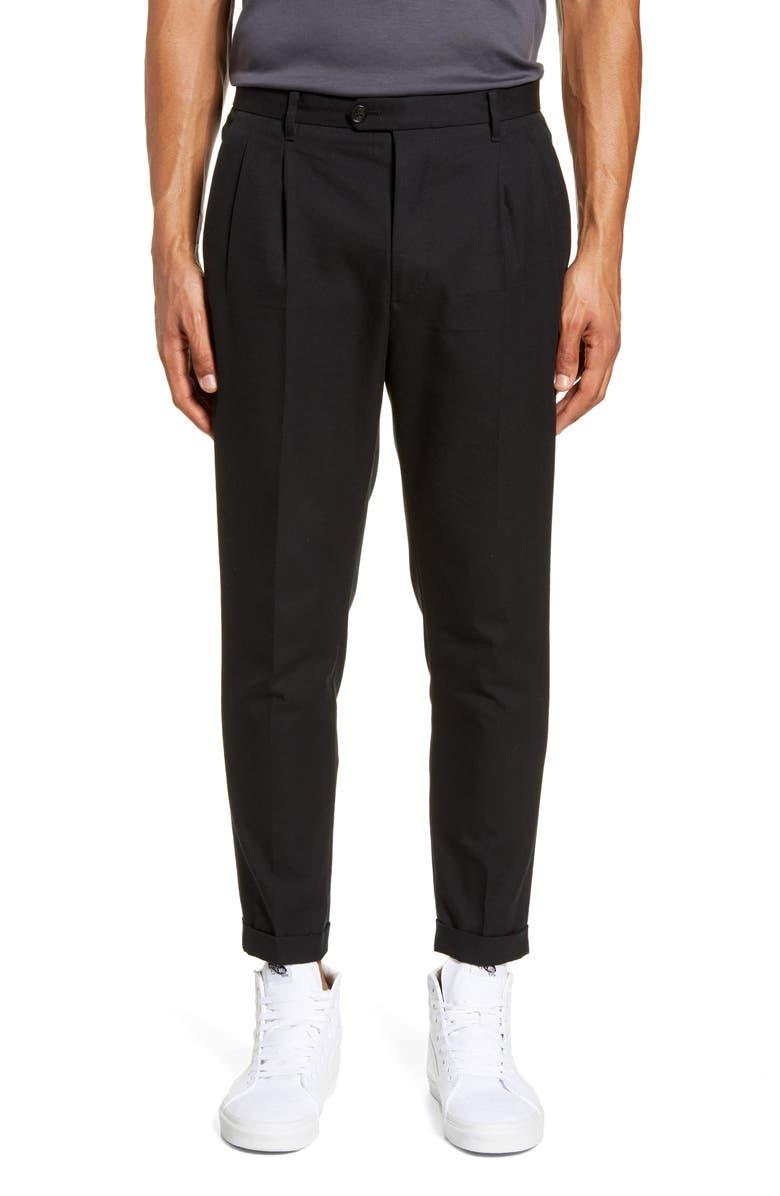 ALLSAINTS Tallis Pleated Cotton & Wool Trousers, Main, color, 001