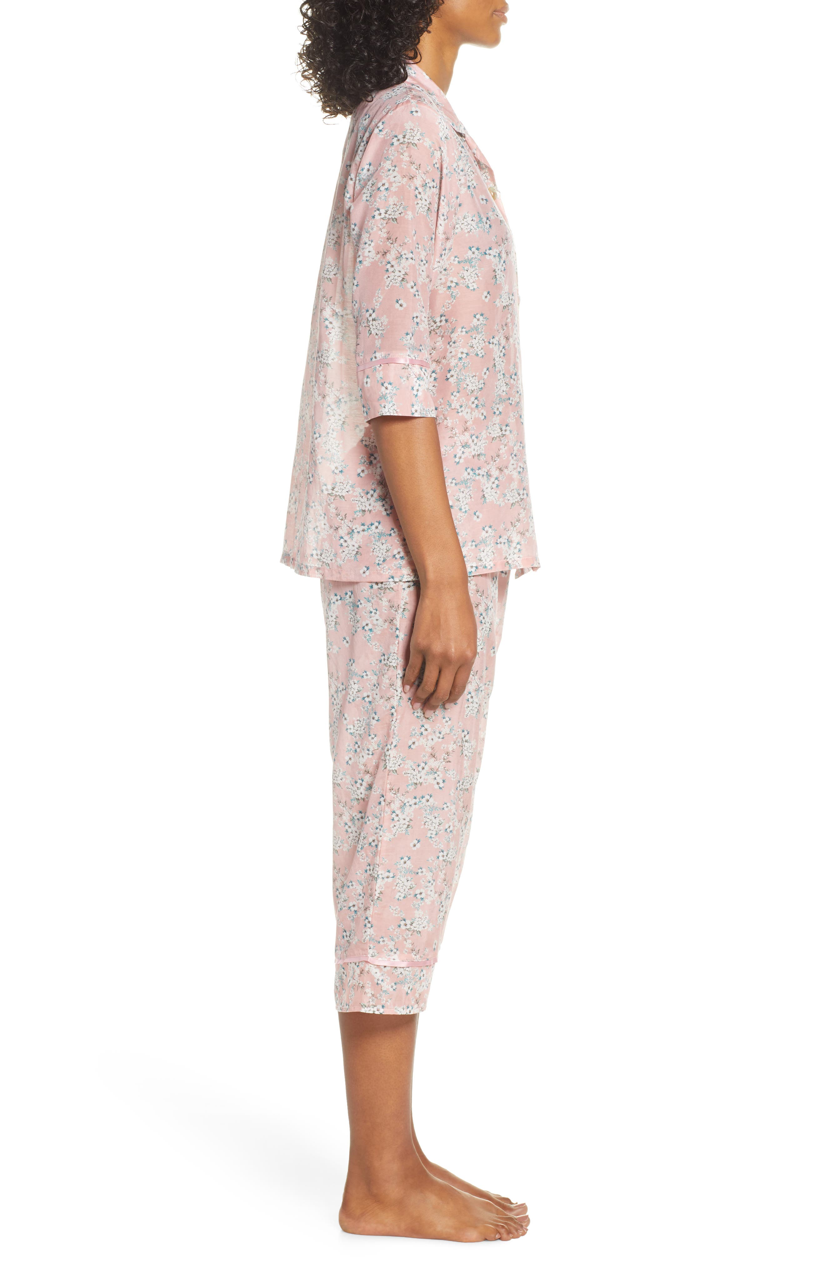 ,                             Isabelle Cotton & Silk Crop Pajamas,                             Alternate thumbnail 3, color,                             DARK PINK