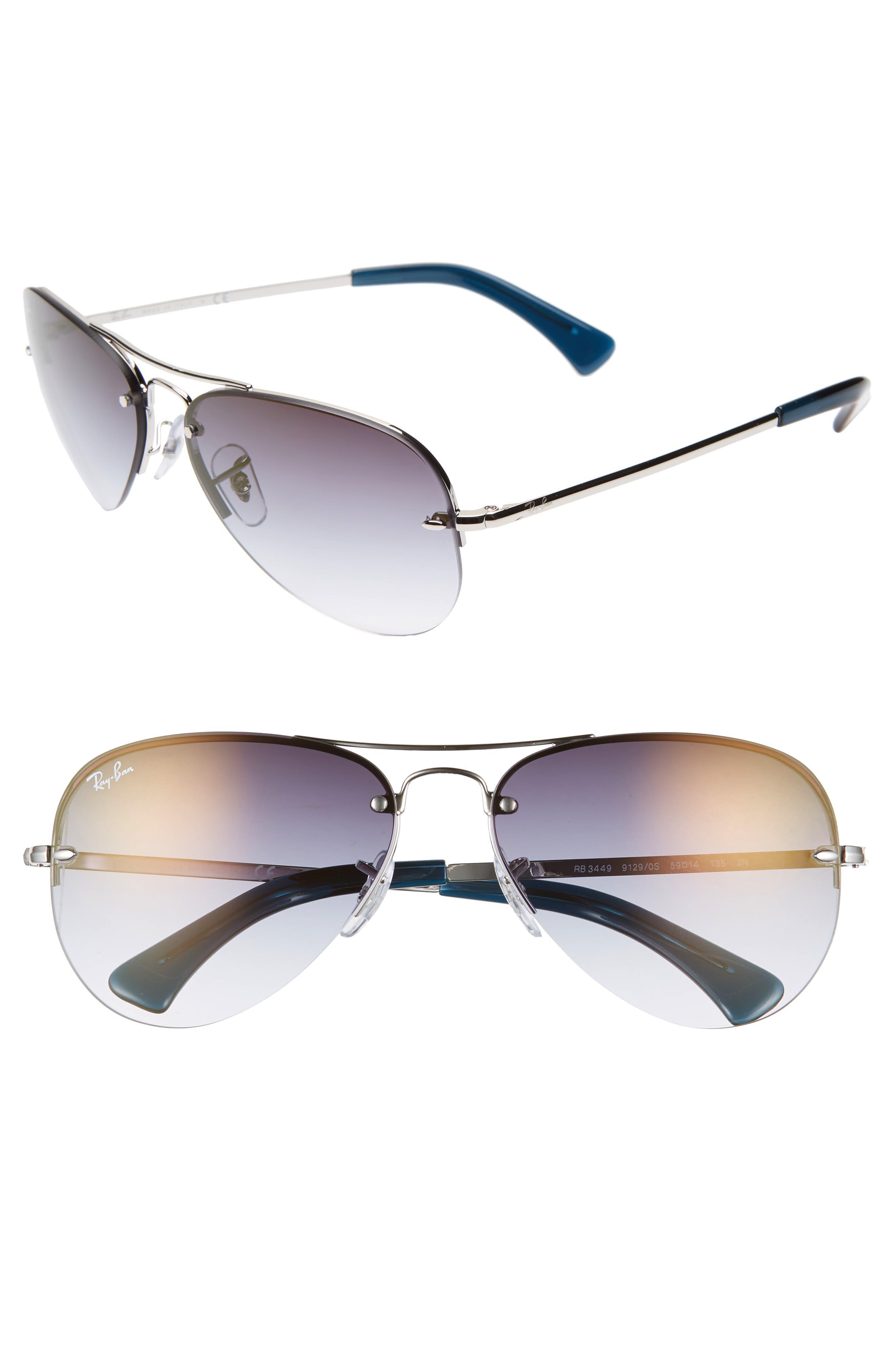 Ray-Ban Highstreet 5m Semi Rimless Aviator Sunglasses - Silver/ Silver Gradient