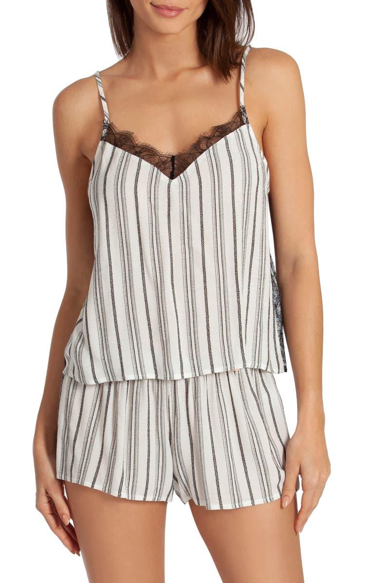 MIDNIGHT BAKERY Jade Stripe Short Pajamas, Main, color, WHITE/ BLACK