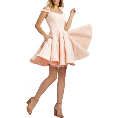 MAC Duggal Cold Shoulder Skater Dress, Pink