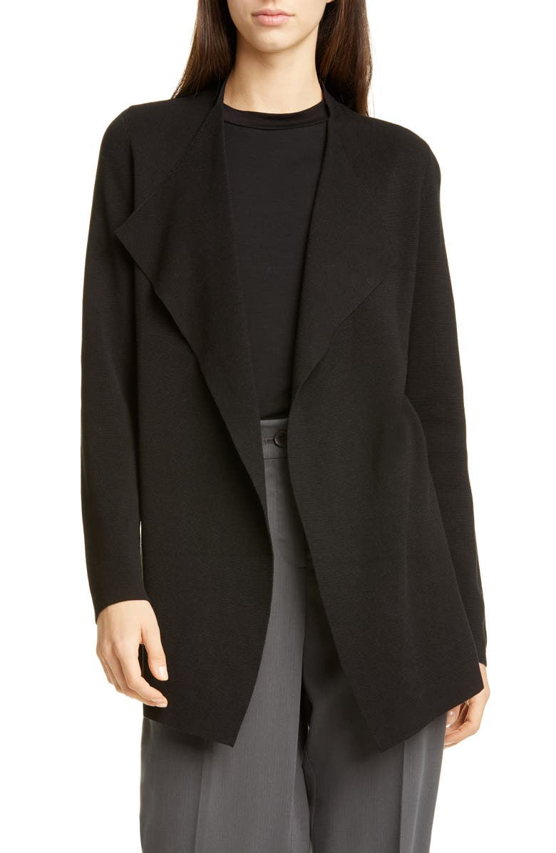 EILEEN FISHER Waterfall Lapel Silk & Organic Cotton Jacket, Main, color, 001