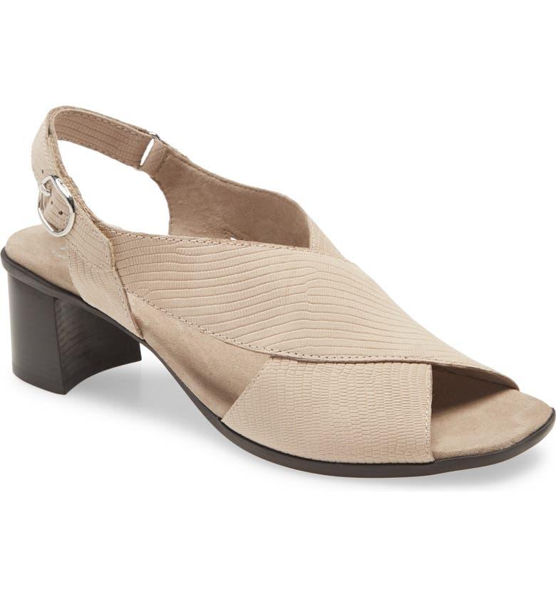 MUNRO Laine Block Heel Sandal, Main, color, TAUPE SNAKE PRINT LEATHER