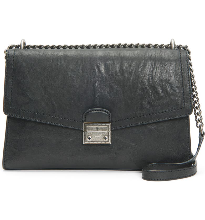 FRYE Ella Leather Shoulder Bag, Main, color, 001