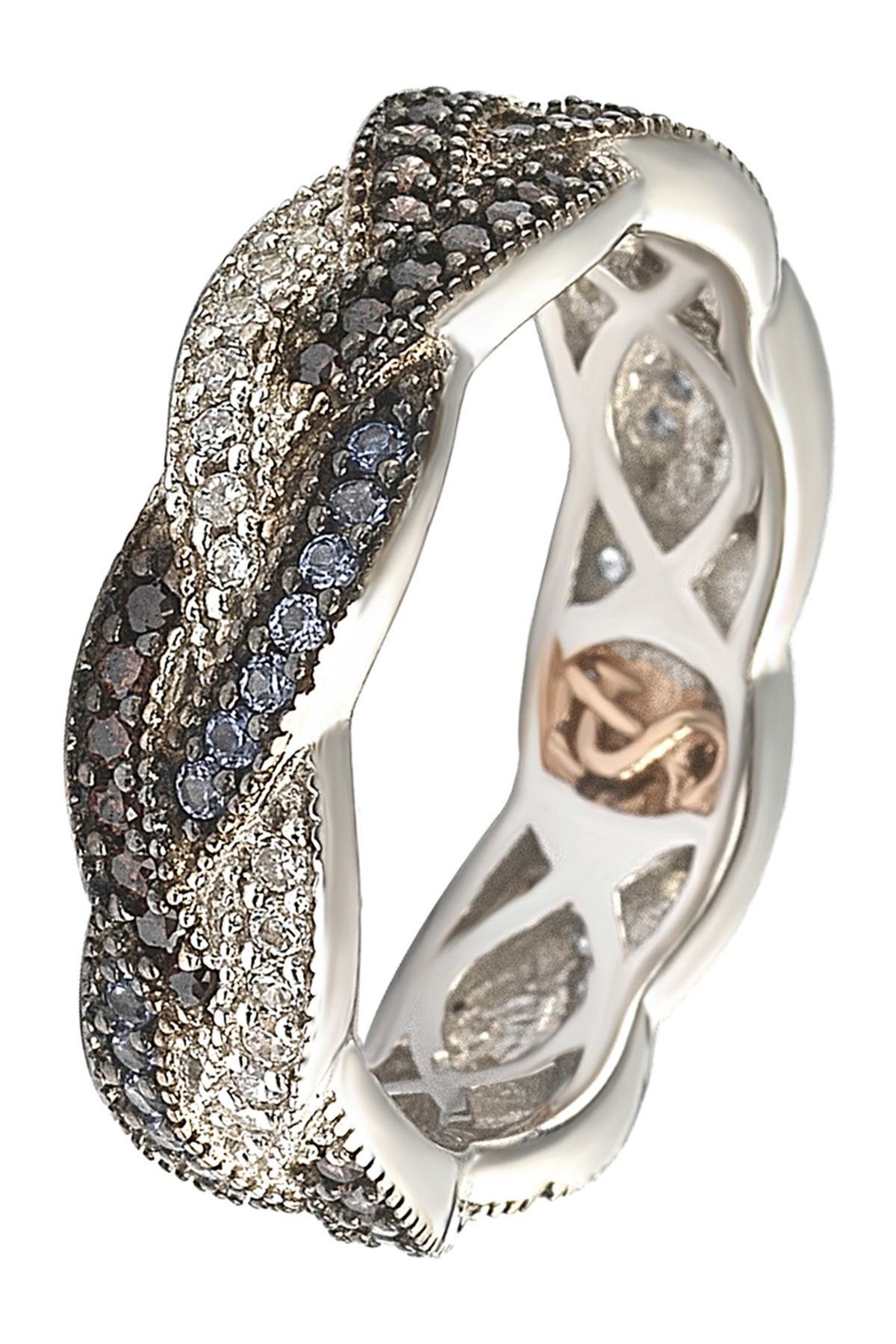 Image of Suzy Levian Sterling Silver Pave Sapphire & CZ Scalloped Band Ring