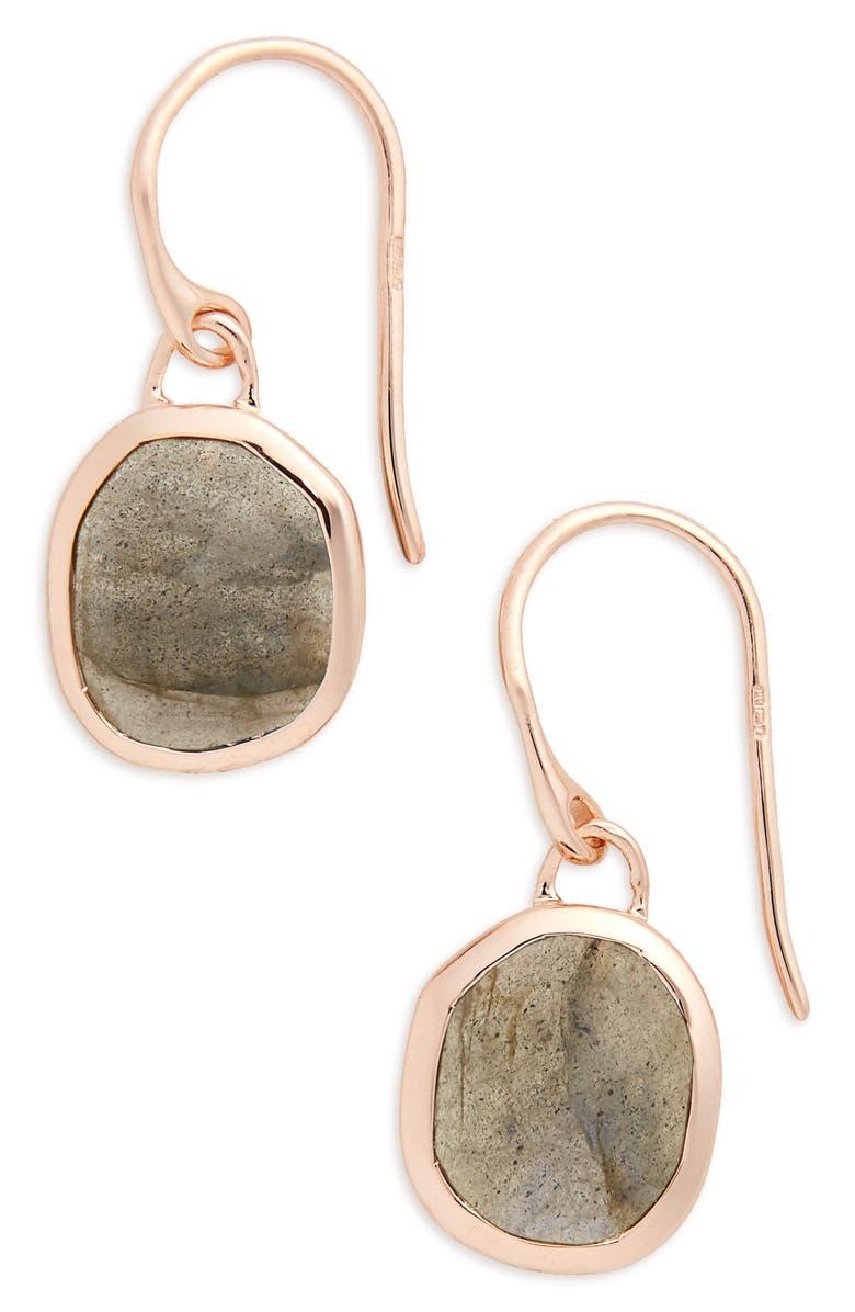 MONICA VINADER Siren Semiprecious Stone Drop Earrings, Main, color, LABRADORITE/ ROSE GOLD