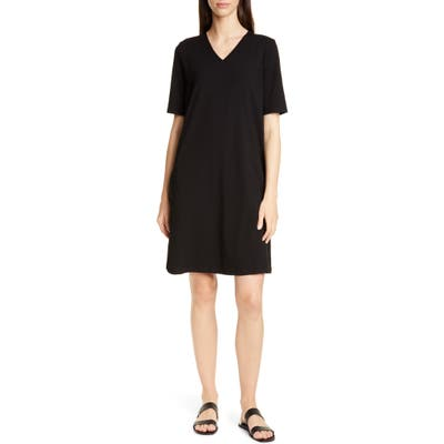 Petite Eileen Fisher Stretch Cotton A-Line Dress, Black