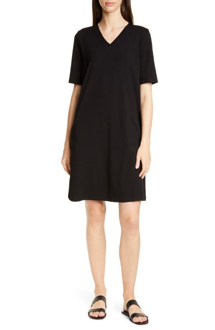 Image of Eileen Fisher Stretch Cotton A-Line Dress