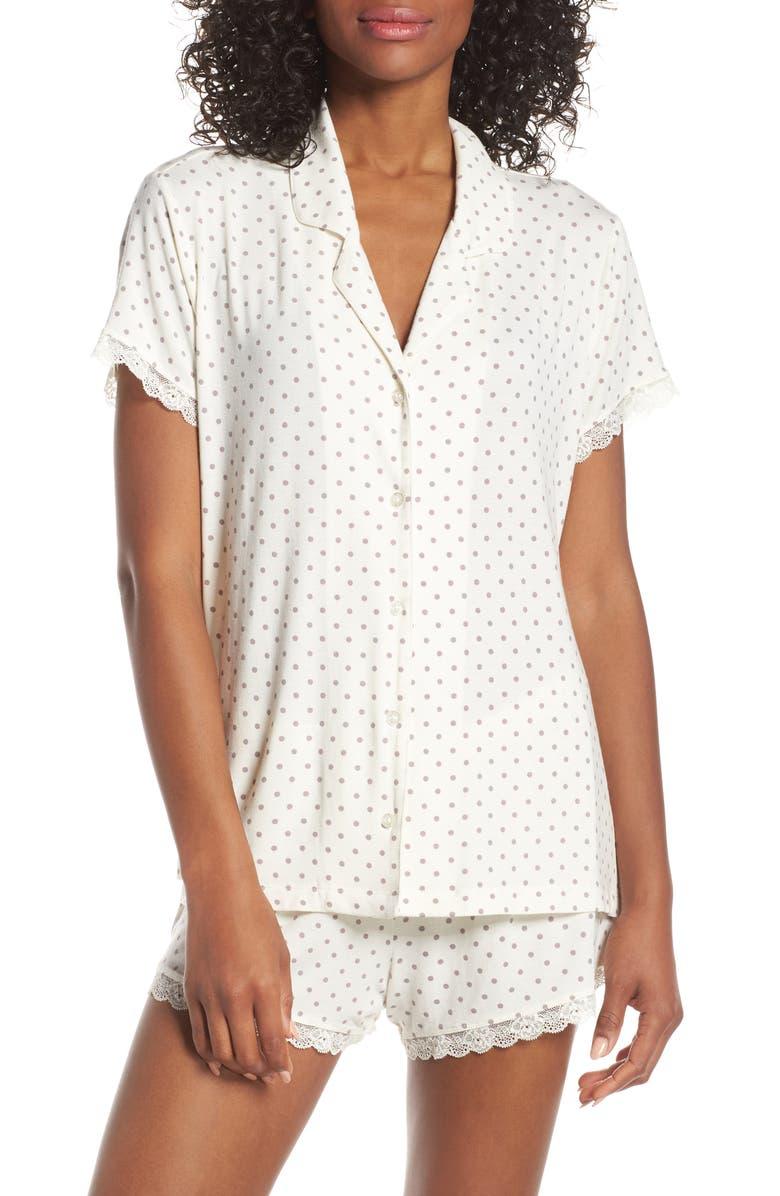 NORDSTROM LINGERIE Moonlight Short Pajamas, Main, color, IVORY EGRET EASY DOT