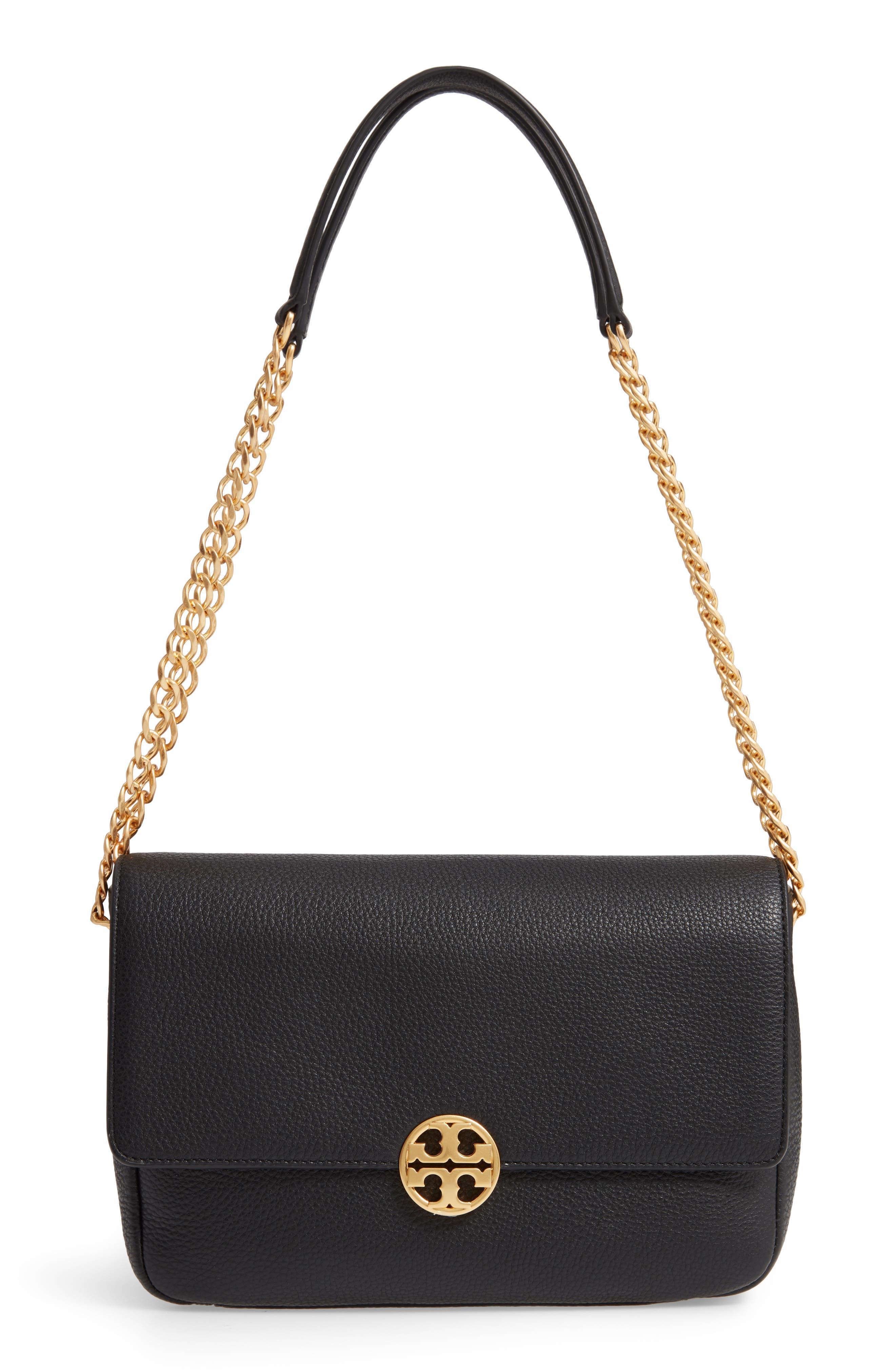 Chelsea Leather Shoulder Bag, Main, color, BLACK