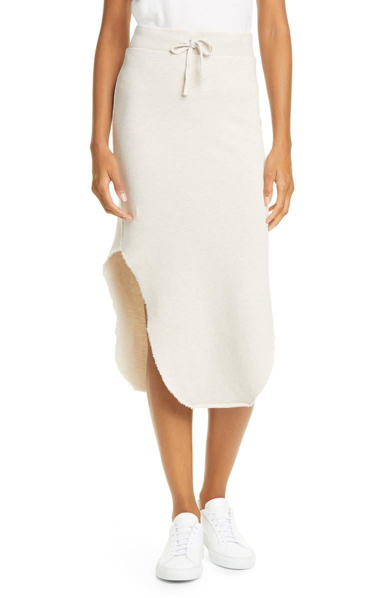 FRANK & EILEEN Tie Waist Cotton Fleece Skirt, Main, color, IRISH OATMEAL MELANGE