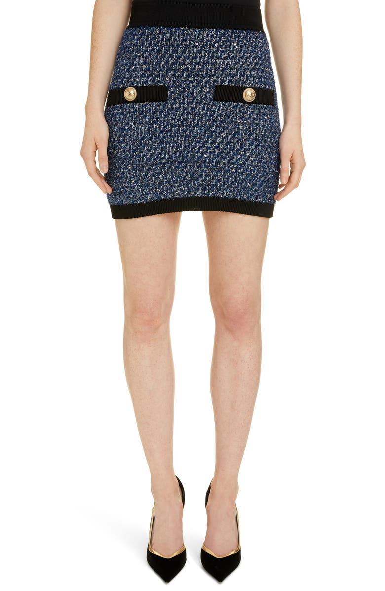 BALMAIN Sequin Tweed Miniskirt, Main, color, SBS BLEU/ NOIR/ NATUREL