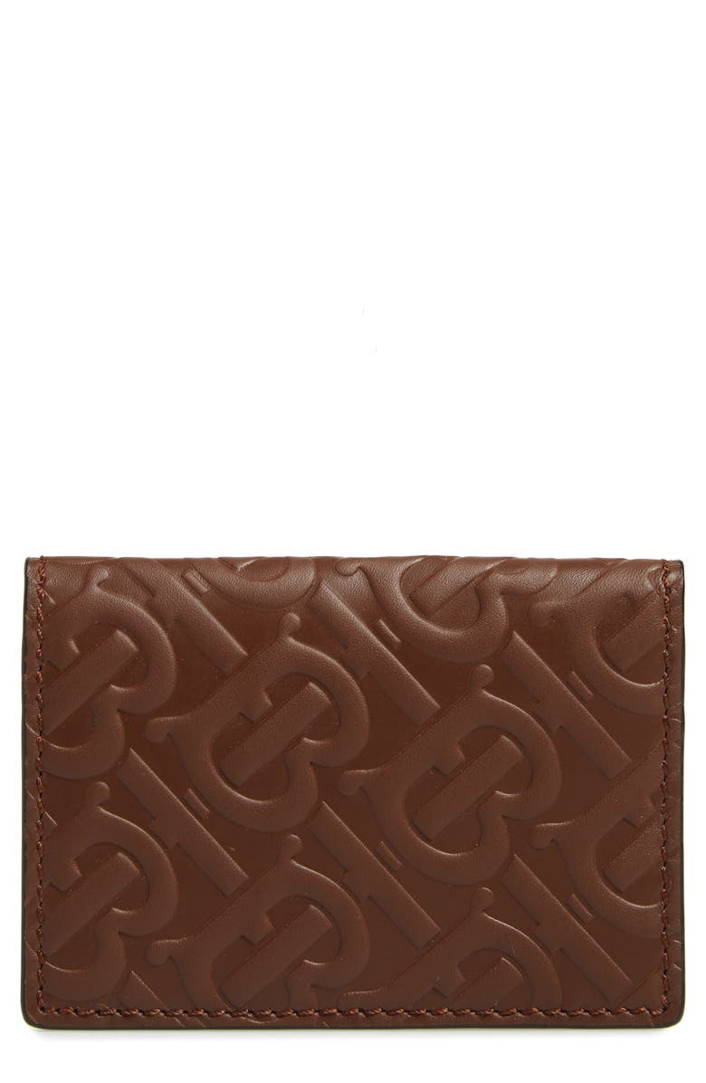 BURBERRY Monogram Embossed Leather Card Case, Main, color, BROWN