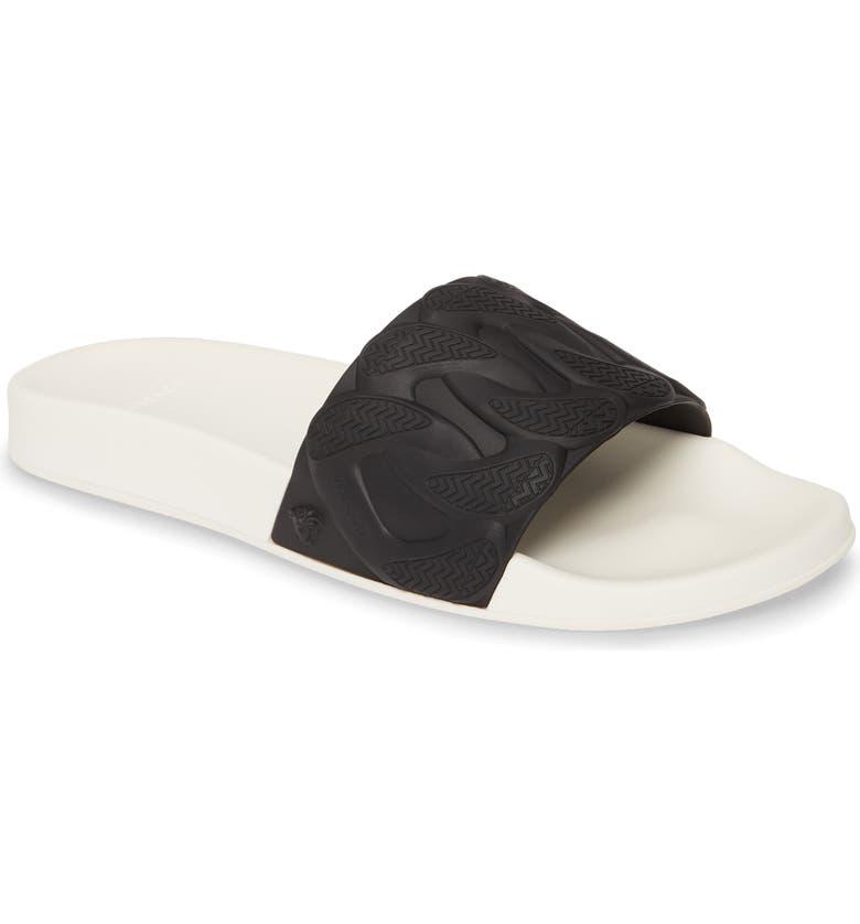 VERSACE Chain Slide Sandal, Main, color, NERO/ BIANCO