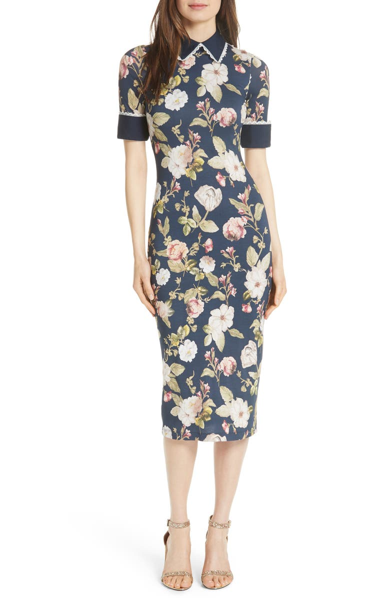 ALICE + OLIVIA Delora Fittted Floral Dress, Main, color, 479
