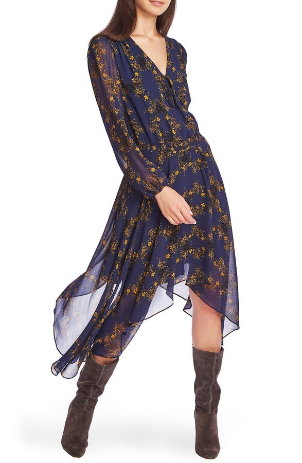1.state Dresses LONG SLEEVE FLORAL HANDKERCHIEF HEM DRESS