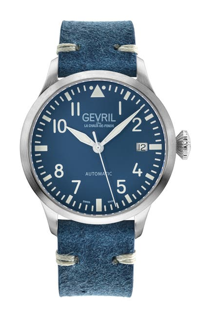 Image of Gevril Men's Vaughn Blue Leather Watch, 44mm