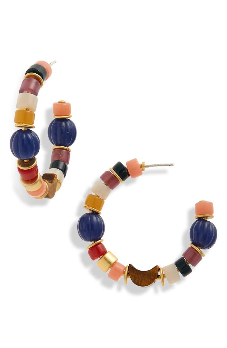 MADEWELL Beaded Moon Hoop Earrings, Main, color, DUSTY POOL MULTI