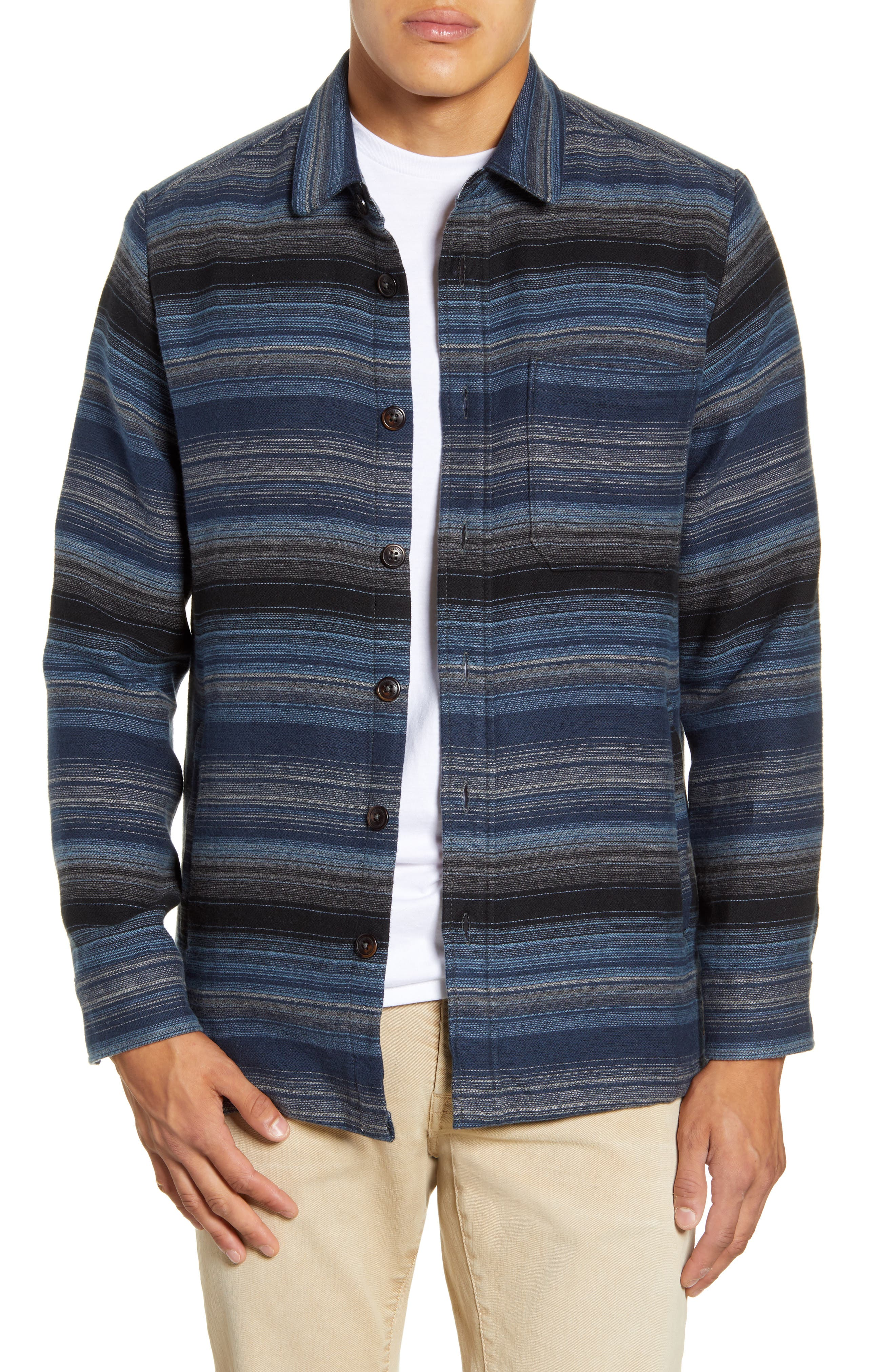 Fanning Stripe Button-Up Shirt Jacket