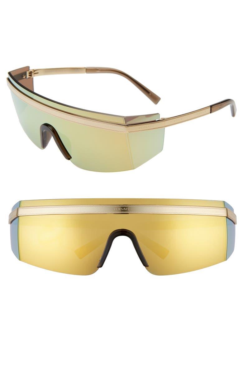 VERSACE Irregular 137mm Shield Sunglasses, Main, color, GOLD