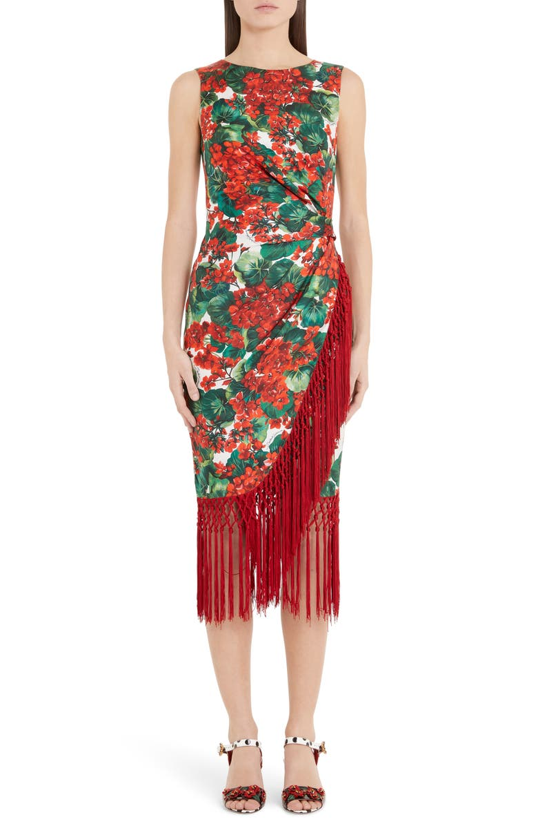 DOLCE&GABBANA Geranium Print Fringe Trim Midi Dress, Main, color, RED