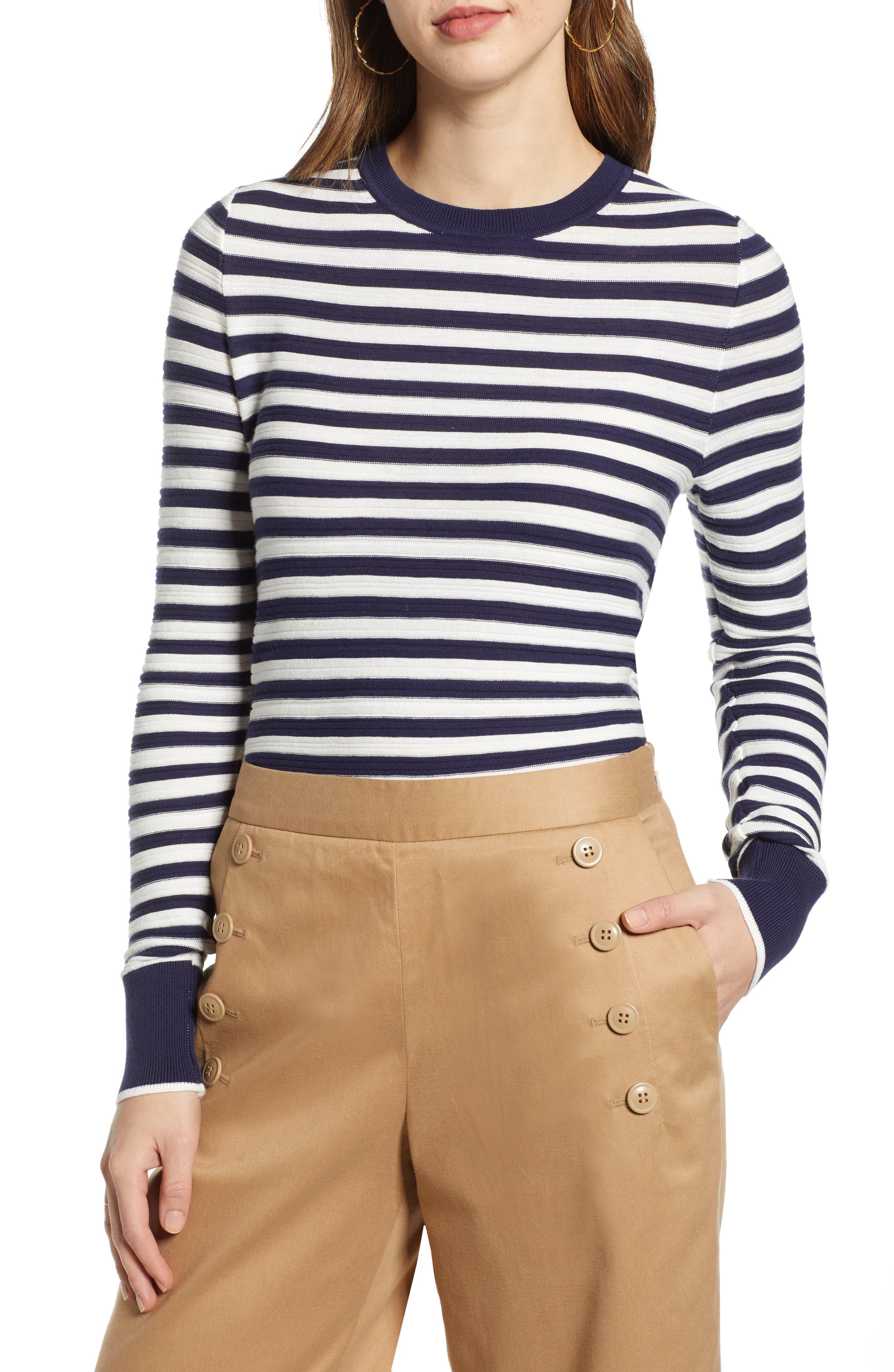 1901 Stripe Long Sleeve Cotton Sweater, Blue