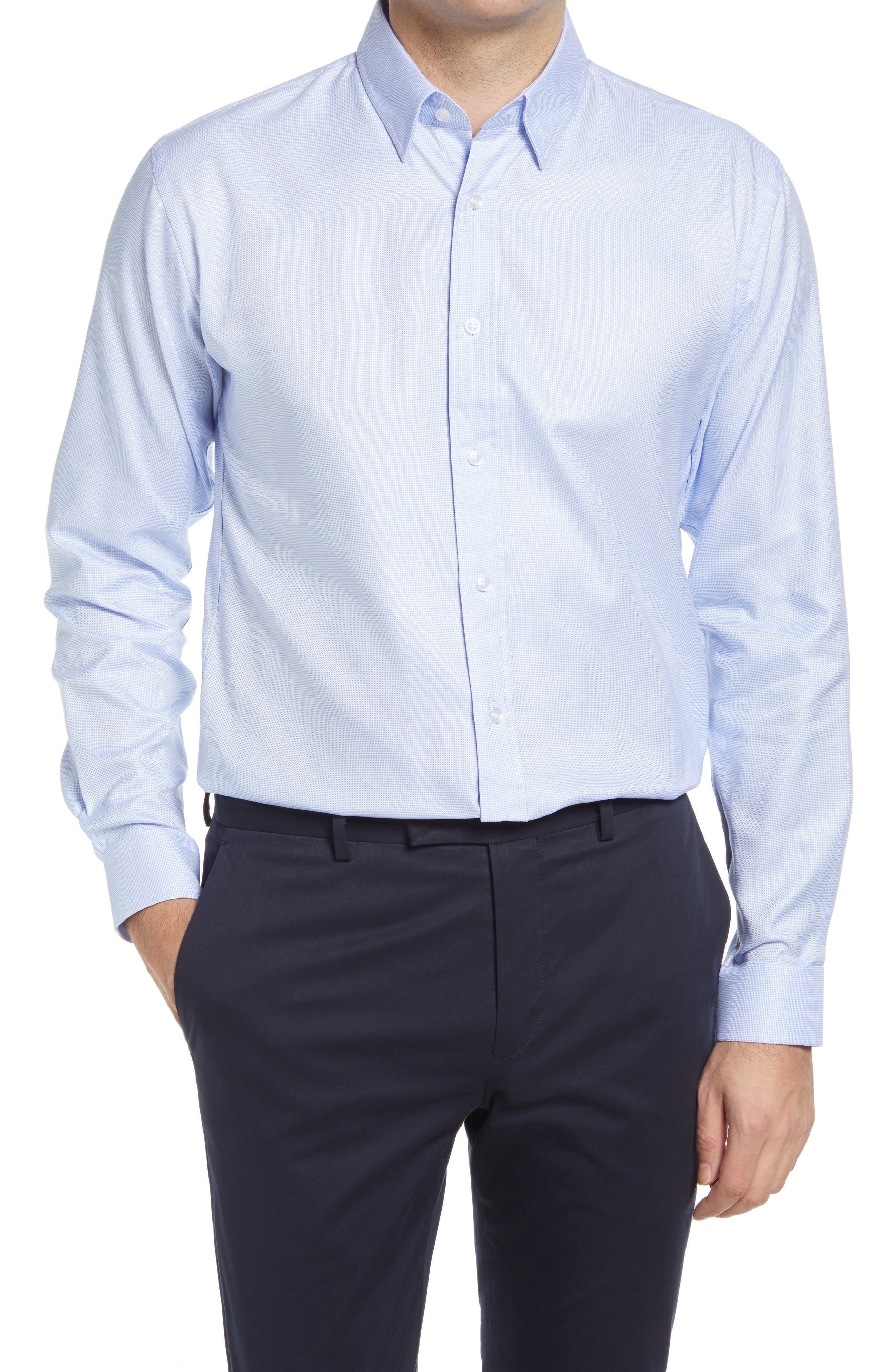 Mason Tailored Fit Check Stretch Button-Up Shirt