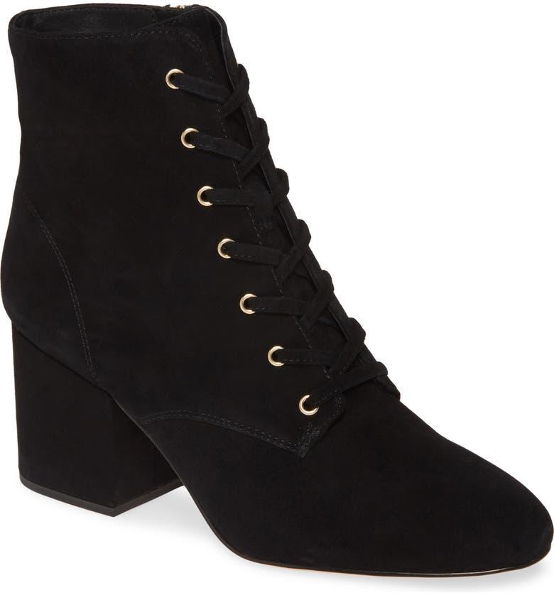J.CREW Lace Up Block Heel Bootie, Main, color, BLACK SUEDE