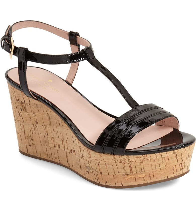 KATE SPADE NEW YORK 'tallin' wedge sandal, Main, color, 001