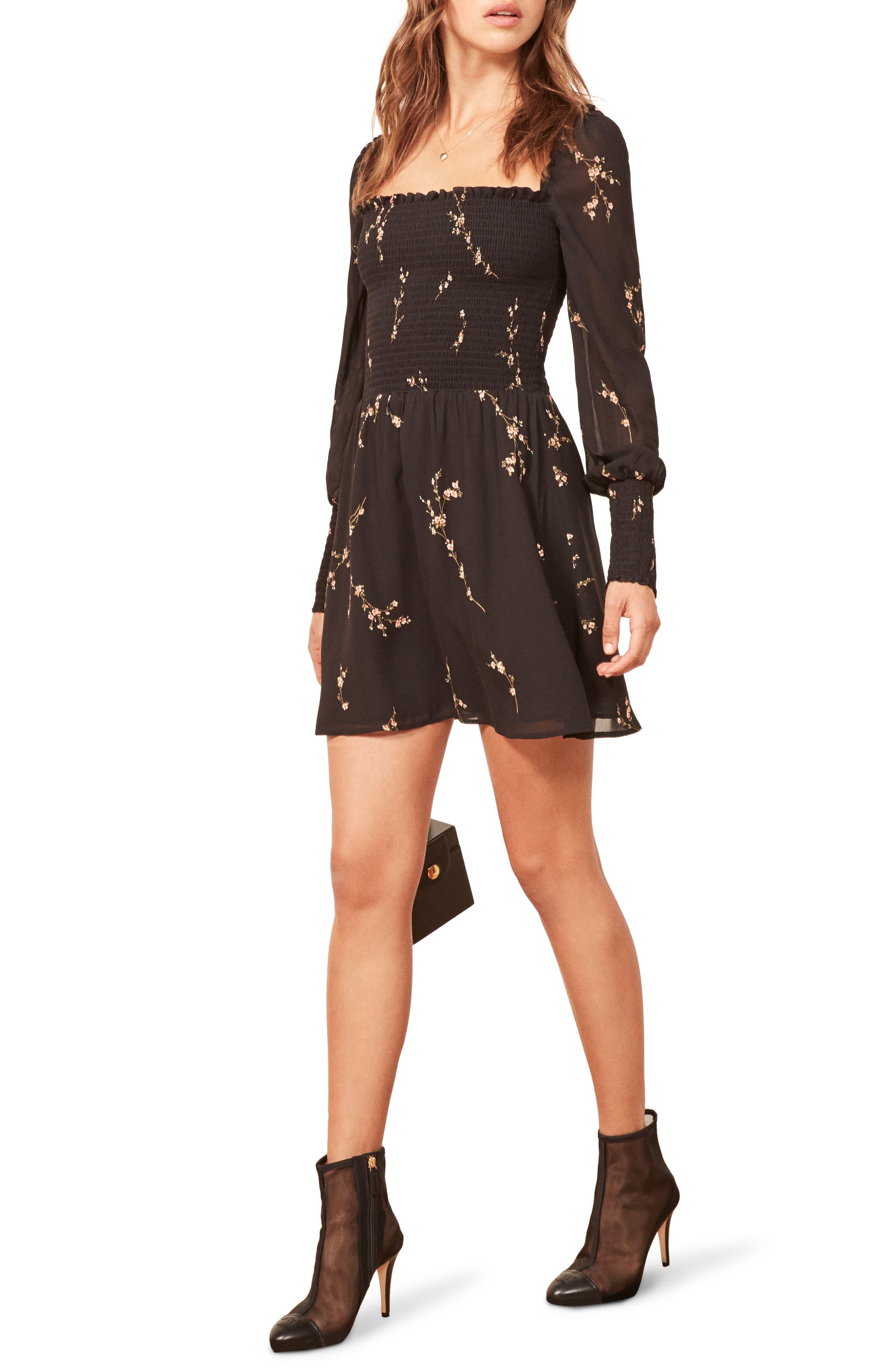 ,                             Kelli Smocked Bodice Fit & Flare Minidress,                             Main thumbnail 1, color,                             001