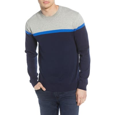 French Connection Core Slim Fit Colorblock Sweater, Blue