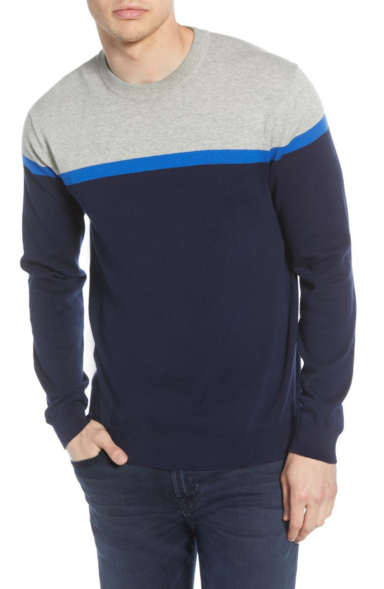 FRENCH CONNECTION Core Slim Fit Colorblock Sweater, Main, color, LIGHT GREY MEL/ INDIGO
