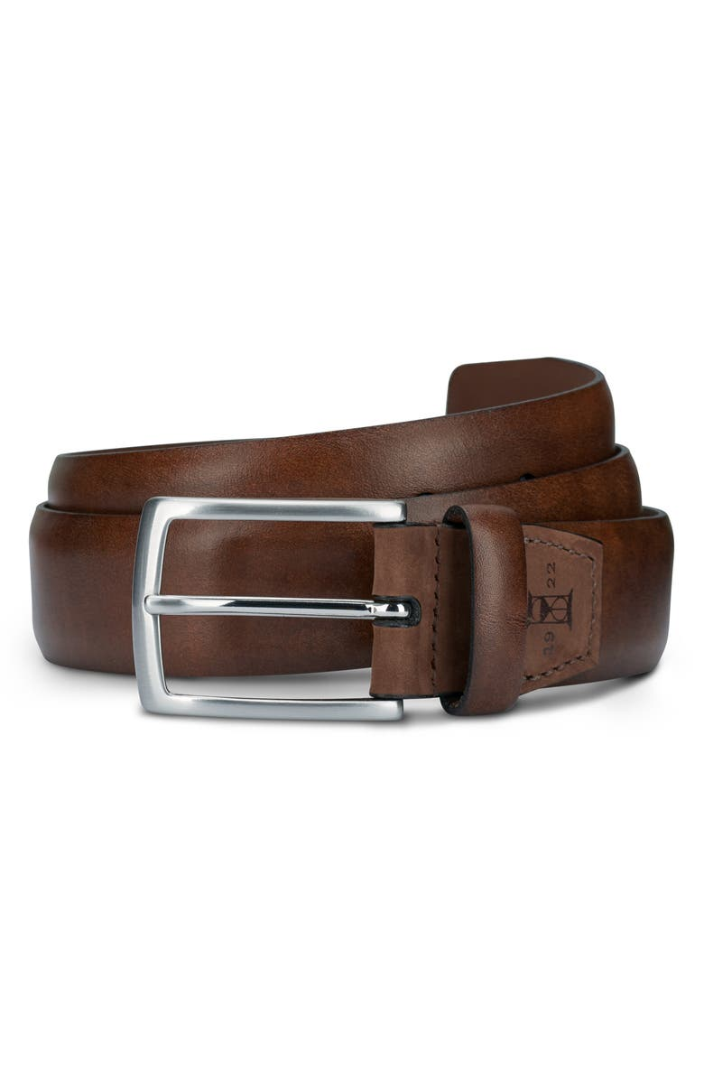 ALLEN EDMONDS Glass Avenue Leather Belt, Main, color, COFFEE