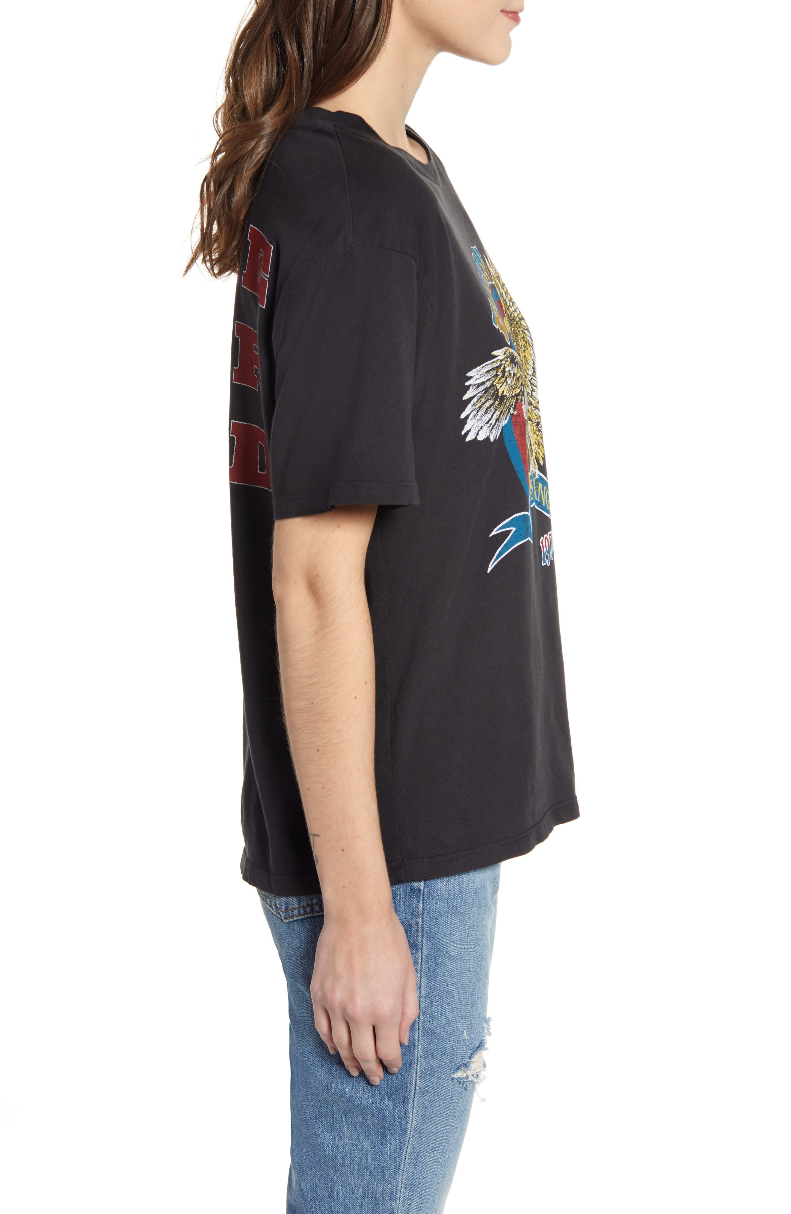 ,                             Born Free Graphic Boyfriend Cotton Tee,                             Alternate thumbnail 3, color,                             ASH BLACK