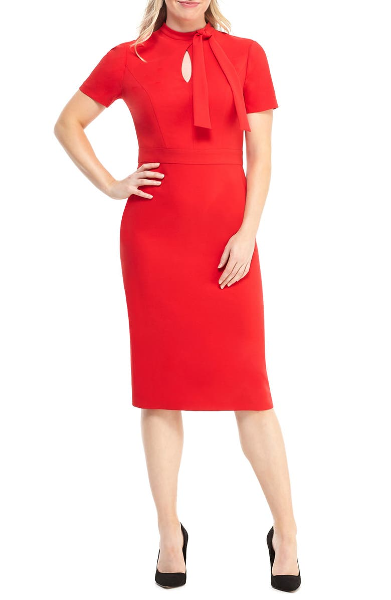 MAGGY LONDON Career Keyhole Bow Neck Dress, Main, color, ROSE TRELLIS