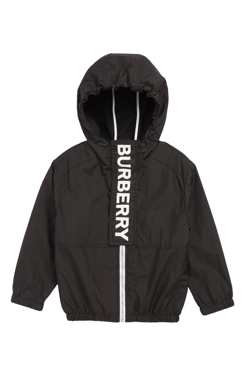BURBERRY Austin Logo Hooded Windbreaker, Main, color, BLACK