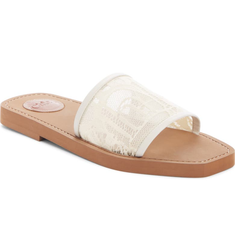 CHLOÉ Lace Slide Sandal, Main, color, MILD BEIGE