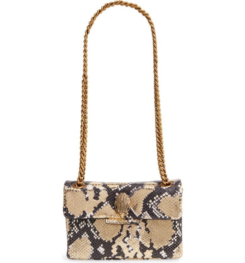 KURT GEIGER LONDON Mini Kensington Metallic Snake Embossed Leather Crossbody Bag, Main, color, 100