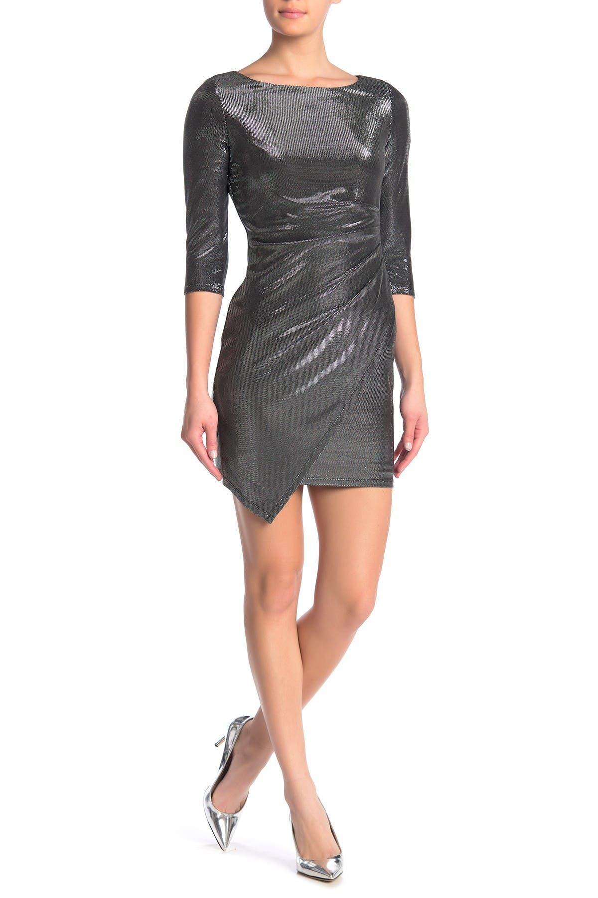 JUMP Metallic Draped Hem Bodycon Dress