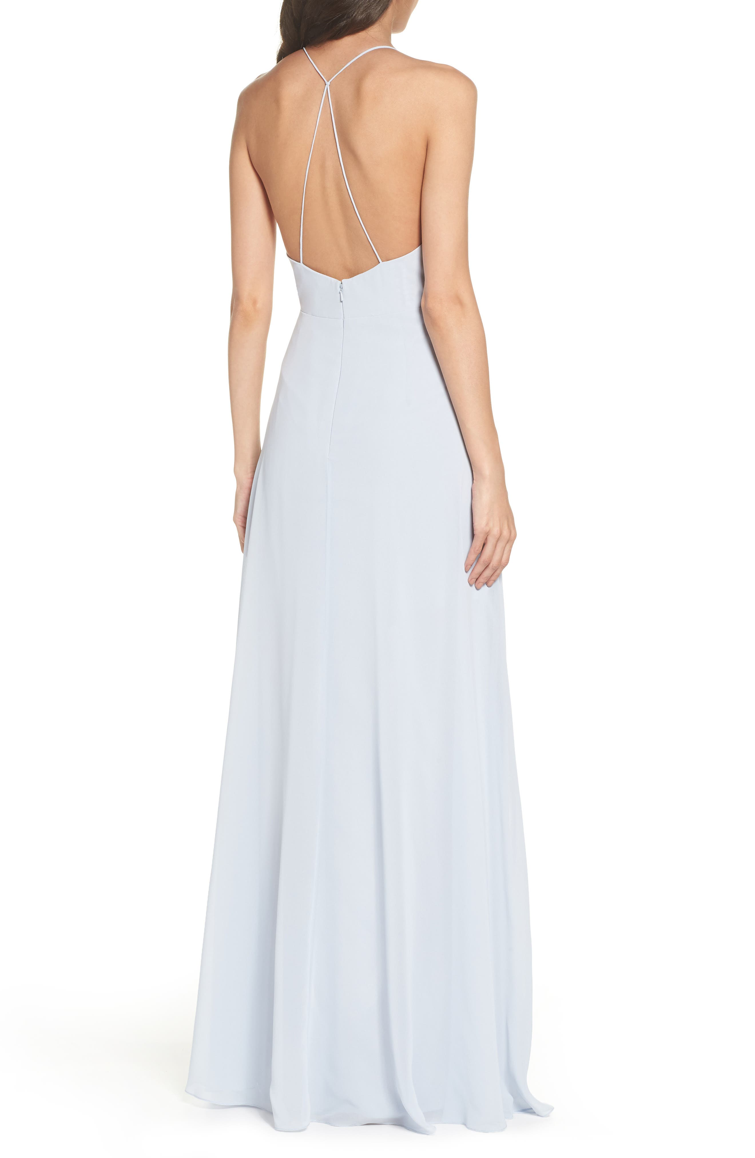 ,                             Farrah Ruffle Chiffon Gown,                             Alternate thumbnail 2, color,                             WHISPER BLUE