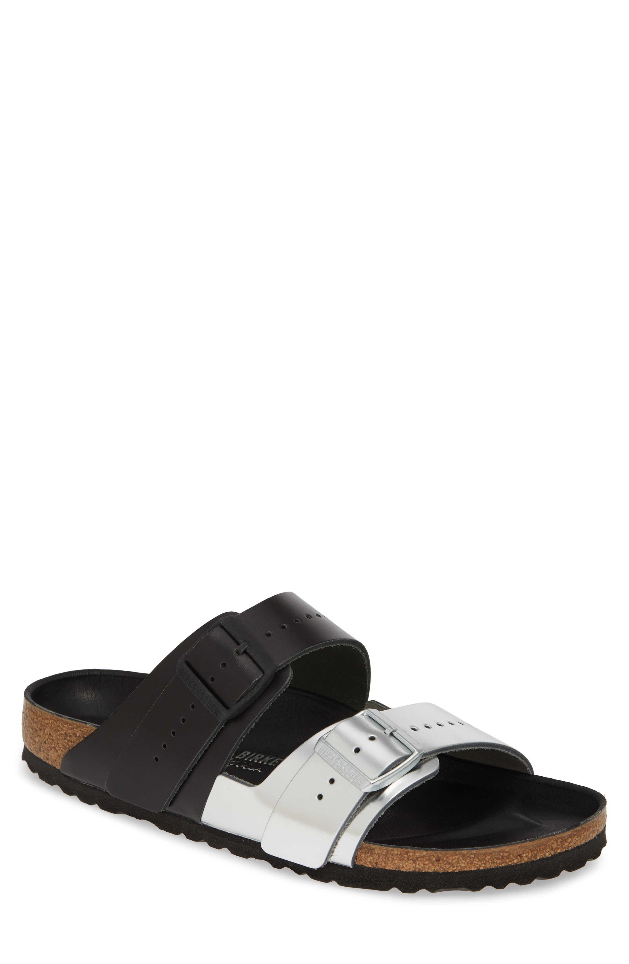 Rick Owens x Birkenstock Arizona Sandal, Main, color, BLACK/ SILVER