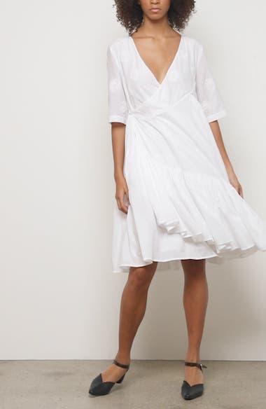 Aronia Floral Cotton & Silk Wrap Dress, video thumbnail