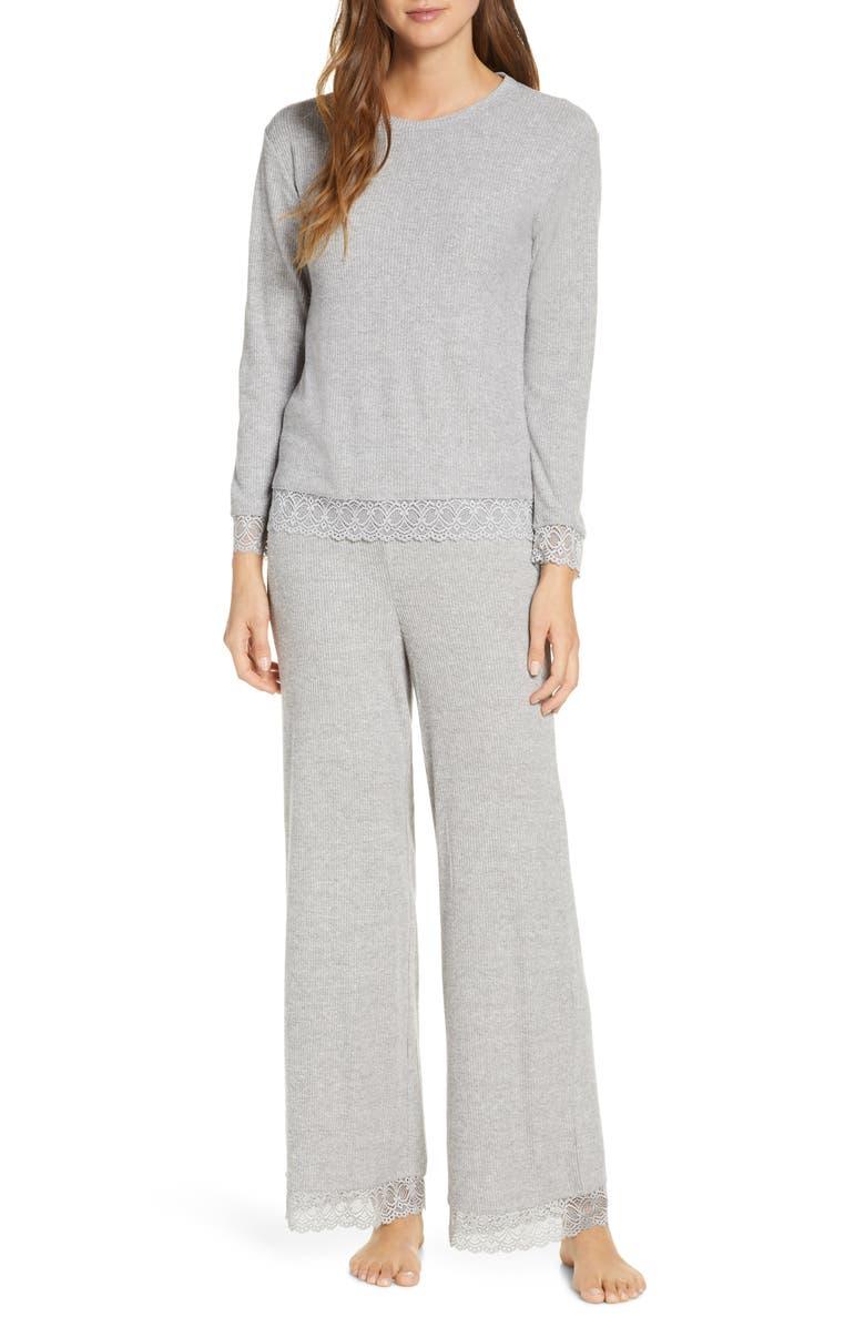 RACHEL PARCELL Lace Trim Pajamas, Main, color, GREY MEDIUM HEATHER