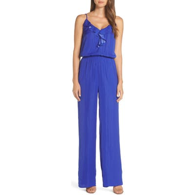 Lilly Pulitzer Tinley Sleeveless Ruffle Neck Jumpsuit, Blue