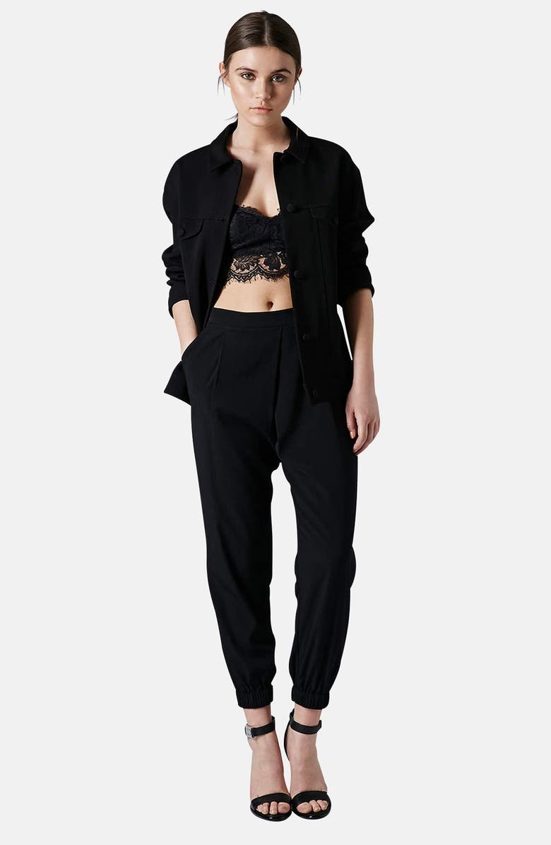 TOPSHOP Wrap Detail Track Pants, Main, color, 001